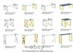 Console Table Display Stand Clear Tempered Glass Top Stainless Steel Frame