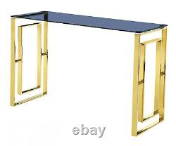 Console Table Display Stand Grey Tempered Glass Top Stainless Steel Gold Finish