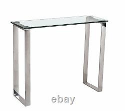 Console Table Hall Table Display Stand Clear Glass Stainless Steel Leg Rectangle