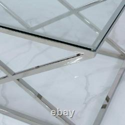 Contemporary Antoinette Silver Stainless Steel And Tempered Glass Coffee Table