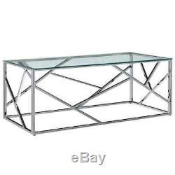 Contemporary Stainless Steel Clear Glass Lounge Living Room Coffee Table