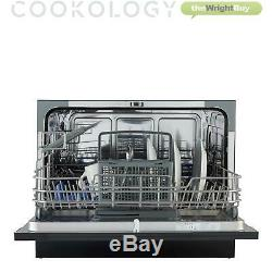 Cookology GLD6BK Mini Table Top Dishwasher, 6 place settings, Black Glass Front