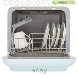 Cookology MCDW2PGR Mini Table Top Dishwasher, 2 Places in Pastel Blue