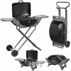 Crusader Folding Gas Barbecue Combo BBQ Trolley Portable Picnic Table Top Stove