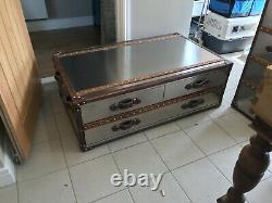 Designer Furniture Andrew Martin coffee table with drawers. Steel/leather