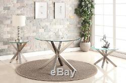 Dining Kitchen Table Round Clear Glass Top (110cm) Brushed Stainless Steel Legs