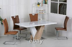 Dining Kitchen Table White Gloss Top Natural Frame Stainless Steel Table Only
