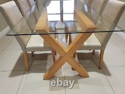 Dining Table Oak, Glass, and Stainless Steel, with Six Leather Dining Chairs
