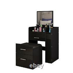 Dressing Table Makeup Desk 3 Drawer Mirror Stool Organiser Set Bedside Cabinet