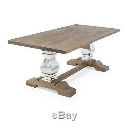 EGF520 2m Aspen Reclaimed Elm Stainless Steel Pedestal Dining Table Chair Sets