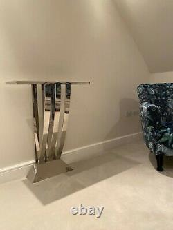 EICHHOLTZ Console Table Beau Deco, Polished Stainless Steel, Black Marble Top