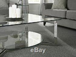 Eclipse Glass Coffee Table With Shelf Stainless Steel Modern Square Round