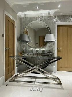 Eichholtz Design Silver Criss Cross X Stainless Steel & Glass Console Side Table