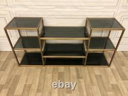 Eichholtz Smythson Shelf Unit / Console Table. Gold With Black Glasses