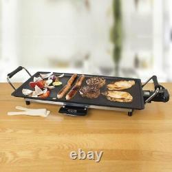 Electric Teppanyaki Table Top Grill Griddle BBQ Barbecue Garden Camp 8 Spatulas