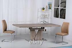 Elisa Extending Natural Oak Effect Stainless Steel Dining Table Dining Furniture