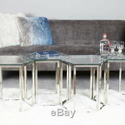 Fleur Hexagon Stainless Steel Clear Glass Coffee Side End Lamp Display Table