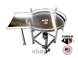 Furex 48 Dia. Stainless Steel Accumulating Rotary Table with In Feed Table