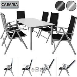 Garden Dining Table Chairs Furniture Set Aluminum Frosted Glass Recliner Outdoor