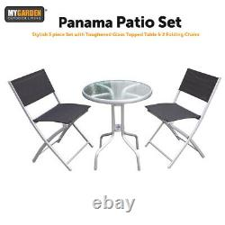 Garden Patio Glass Table and Folding Chairs Furniture Set Bistro Conservatory