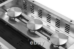 Gas BBQ 3 Burner Plancha Grill in Stainless Steel with Stand and Side Tables