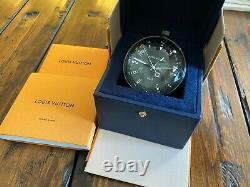 Genuine Louis Vuitton TAMBOUR ALL BLACK TABLE CLOCK GMT Q1Q000 Extremely RARE