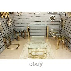 Geo Gold Metal Rectangle Coffee Table Modern Design Living Room Home Furniture