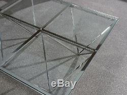 Giza Glass Coffee Table Square Stainless Steel Frame Modern Star Design Base