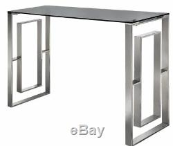 Glass Console Table Hallway Furniture Living Room Black Top Stainless Steel Base