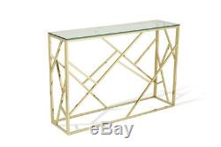 Glass, Stainless Steel metal coffee, console, side lamp table. Modern, shiny, Gold