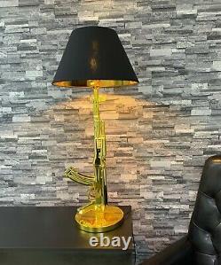 Gold AK47 Machine Gun Table Lamp Desk Lighting Study Light UK Plug Black Shade