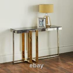 Gold And Silver Stainless Steel Console Table With Grey Glass Top