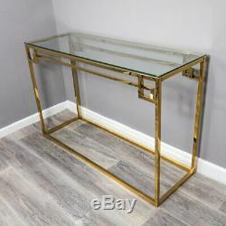 Gold Plated Stainless Steel Metal Console Side Hall Table With Glass Top