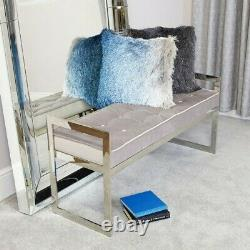 Grey Bench Padded Top Buttons Seat Chair Hallway Bedroom Silver Metal Seating