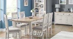 Grey & Oak Extending Dining Table & 4 Chairs L140-180cm x D90cm x H78cm ALFREDO