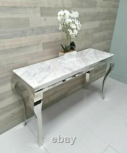 Grey/white Marble Louis Style Console Hallway Table Stainless Steel Modern