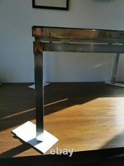 Guy Lefevre Brass Stainless Steel Coffee Table Maison Jansen Vintage 1970s glass
