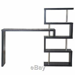 HOMCOM Bar Side Table Pivot Counter Wooden Shelving Bookcase