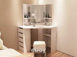 Harmin White Corner Dressing Table Includes Stool & Mirror FREE DELIVERY