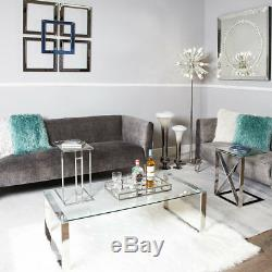 Harper Contemporary Stainless Steel Clear Glass Lounge Coffee Display Table