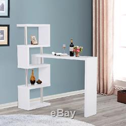 High Breakfast Bar Table Counter Desk White Shelving Unit Rotating Room Divider