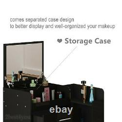 High Gloss Dressing Table Mirror with LED lights Chest of 3 Drawers Makeup Desk