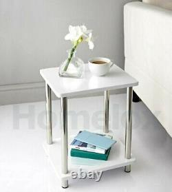 High Gloss Table 2 Shelf Unit With Stainless Steel Legs Coffee Side Table WHITE