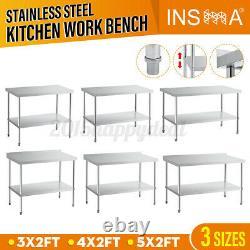 INSMA 3-5FT Adjustable Stainless Steel Kitchen Work Table Bench Workstation UK