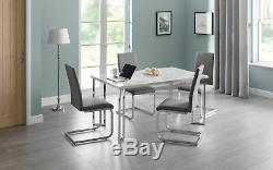 Julian Bowen Positano White Italian Marble Style Dining Table Stainless Steel