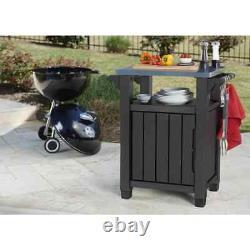 Keter Multifunctional Outdoor Table for BBQ Unity Classic Woodlook Garden Desk