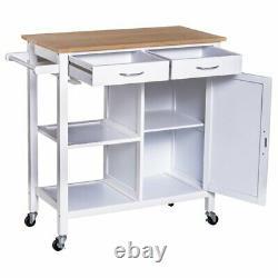 Kitchen Island Butchers Block Table Steel Top Trolley Storage Cabinet shelf door
