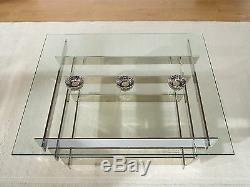 Kyoto Glass Coffee Table Square Stainless Steel Frame Slatted Design