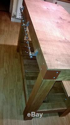 LARGE English OAK butchers block kitchen island table storage furniture vintage