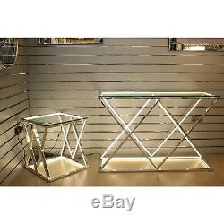 LED Stainless Steel Console Table With Clear Glass Top Hallway Home Furniture